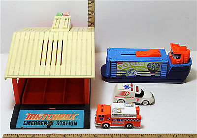 Vintage Lesney Matchbox Emergency Station #587902 + HW Fire & Police Vehicles A+
