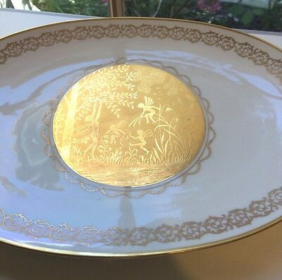 Beautiful Oval Fairy Plate Dullgold 22ct Gloria Porcelain Bayreuth