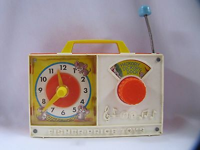 Fisher Price Wind Up Toy Musical Clock Hickory Dickory Dock #107 Vintage 1971