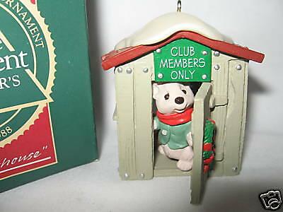 "Hallmark ""our Clubhouse"" Collectors Club Ornament 1988"