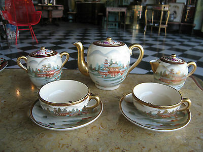 Asian Antique Signed Japanese Meiji Period Kutani Porcelain 7 pc Tea Set