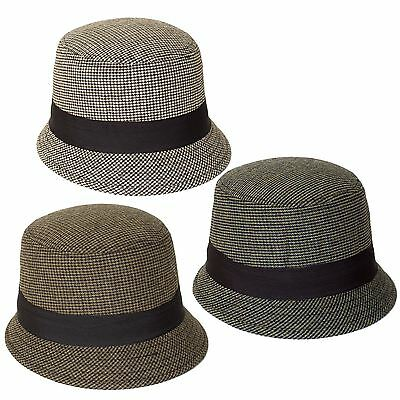 Dogtooth Pattern Cloche-Bucket Hat