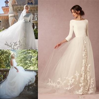 Winter New Garden Wedding Dresses A-Line Tulle Appliques 3/4 Sleeve Bridal Gown