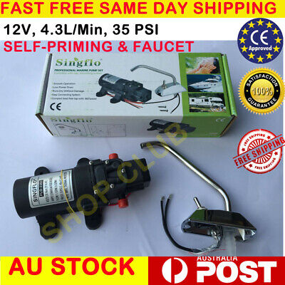 12V Galley Electric Water Pump Tap Faucet KIT Caravan Boat Fast Free Ship
