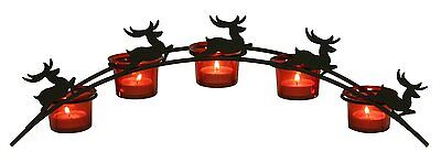Christmas Arch Reindeer Tea Lights with 5 Red Glass Candle Holders Decoration