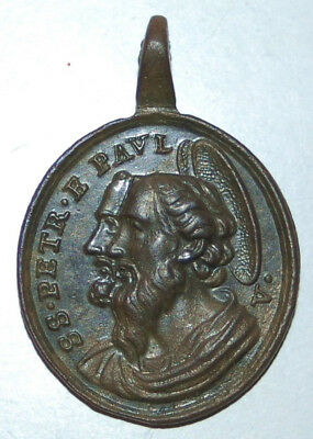 Antique Bronze Medal Pendant HOLY YEAR VATICAN St. Peter Paul 18th C. Medalla