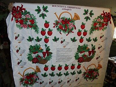 Bountiful Christmas appliques sewing panel fabric material goose horn apples bow