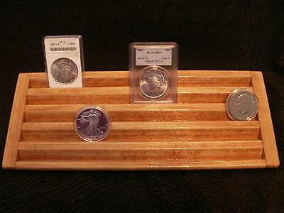 Encapsulated Coin Display Wood  5 Tiers->MAPLE Stn->Wide Rows for Plastic Cases