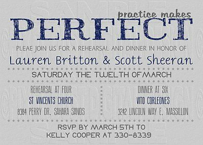 *Print Your Own* Practice Makes Perfect Bridal Rehearsal Dinner Invitation