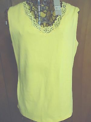 ^NWT Womens Large Laura Ashley Dark Yellow Lace Trimmed Bodice Tank Top
