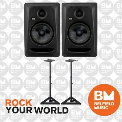 2 x KRK Rokit 5 G3 Stealth Edition Pack w/ Stands Powered Active Monitor Speaker