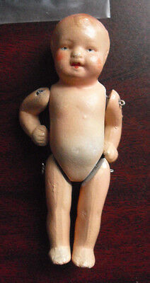 "Vintage 1920s 7/2/2 Germany Jointed Bisque Boy Character Doll 3 3/8"" Tall"