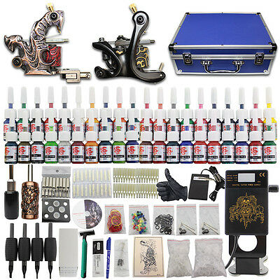 Tätowierung Tattoo Kit Komplett Tattoomaschine Set 40 Inks Farben Nadeln DC08