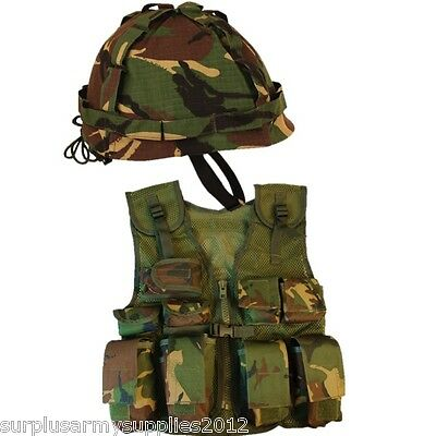 Boys Army Soldier Fancy Dress Costume Kids Dpm Camo Assault Vest Helmet Dress Up