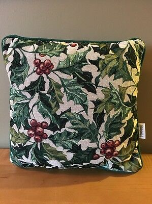 "Longaberger Tapestry American Holly Pillow - 12"" x 12"""