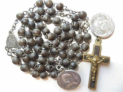 Late 1800-1910 Antique Black Wood Beads Rosary w/ Inlaid Crucifix-Medals