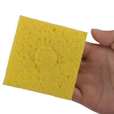 3 X Heat-resisting Warming Welding Cleaner Sponge Yellow for Solder Cleaning