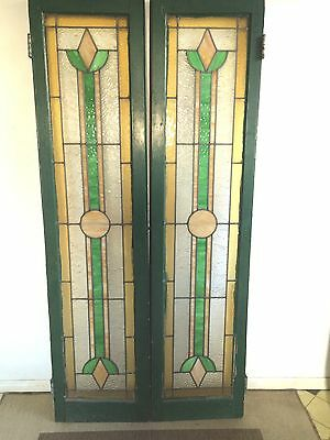 Matching Set of Stained-Glass Door Panels (Right & Left) 5'6'' x 1'4''