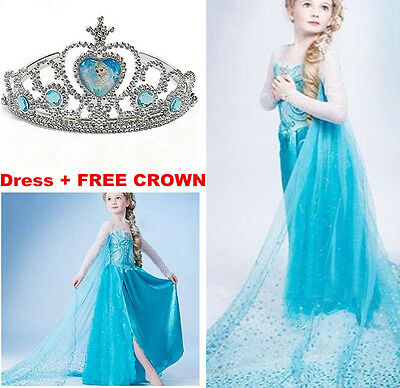 Girls Frozen Elsa Anna Costume Cosplay Party Princess Fancy Dress Crown Gift