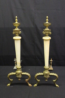 "Pair of Neoclassical Gilt Metal and Onyx Andirons, circa 1900, 26"" X 20"""
