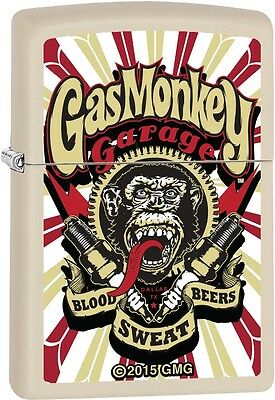 Zippo Gas Monkey Garage Reality Show Blood Sweat Beers Creme Matte Lighter 29057
