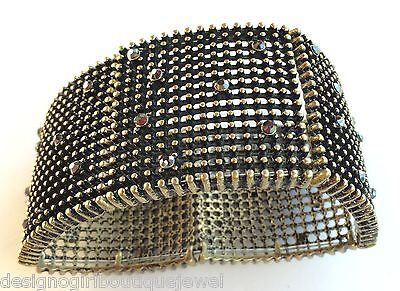 Lot Wholesale Metalic Rhinestone Studded Bracelets 6 Antique Gold-tone Stretch