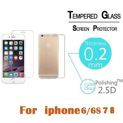 Premium Front and Back Tempered Glass Film Screen Protector For iPhone 6 7 8