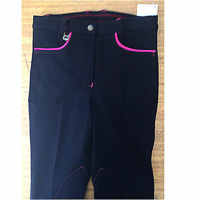 Black w/ Pink Pockets/ Stitch Kids Horse Riding  Breeches  Self Seat Knee Patch