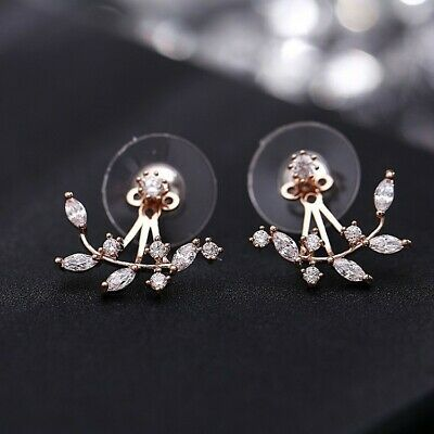 Rose Gold Silver Crystal Stud Girl Earrings Doubled Sided Clip Under Lobe Jacket