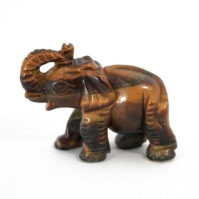 Extraordinarily Collectible Carved Gemstone Elephant - Tiger's Eye - Strength