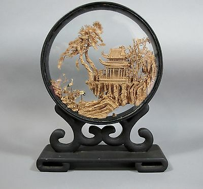 Vintage Asian Japanese Round Carved Cork Scenic Diorama