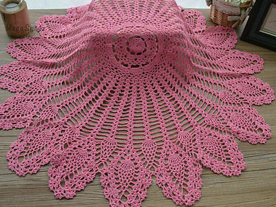 """32"""" Hand Crochet Round Table Cloth Runner Topper Victorian Pink Cotton Pineapple"""