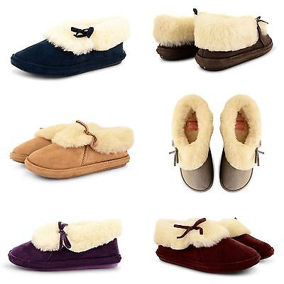 New Womens Luxury Cosy Fur Lined Mules Slippers Ladies House Indoor Shoes Size