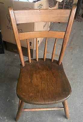 Fine Old Primitive Plank Seat Chair Greyhound Shipping