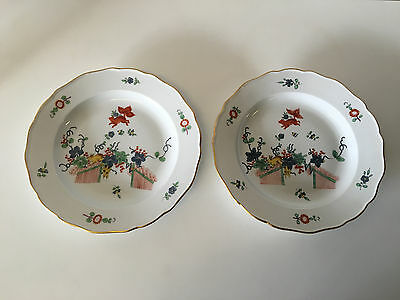 Antique Meissen Porcelain Pair Plates Kakiemon Style Flying Fox Squirrel & Vine