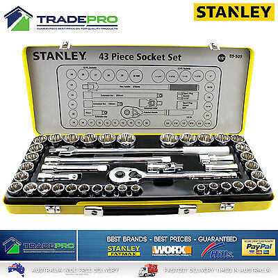 Stanley PRO 43pc Piece Socket Set Metric & Imperial 1/2'' Drive Quick Release