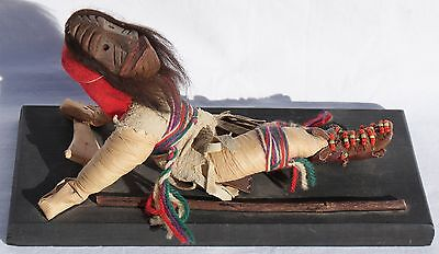 Vintage Iroquois False Face Society Mask Corn Husk Doll W/Staff & Rattle #1