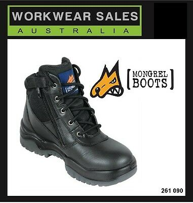 Mongrel Mens Black Leather Work Boots Zip Siders Aust Made 261 020 UK Size