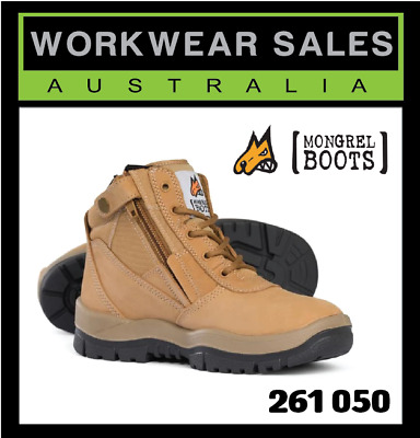 Mongrel Mens Wheat Leather Work Boots Zip Siders Aust Made 261 050 Steelcap