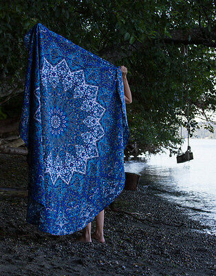 Blue Star Mandala Round Tapestry Hippie ombre Mandala Indian Wall Hanging Throw