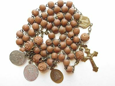 Late 1800s Antique Unpolished Brown Wood Beads Rosary in Brass-Medals