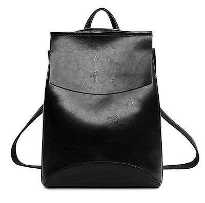 Women's School Bag Leather Backpack Bookbag Rucksack Satchel Travel Bags Black