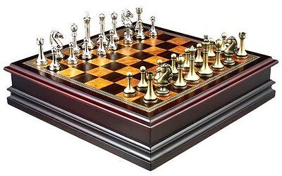 Chess Board Game with Inlaid Wood Board and Pewter Metal Pieces 12 Inch Set