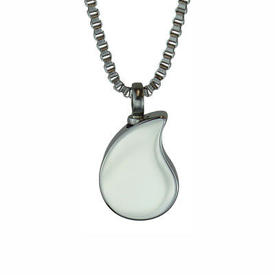 Plain Teardrop Urn Pendant Necklace Memorial Ash Cremation Jewellery - Engraving