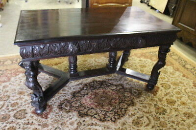 Hoerner Style Partner Library Table on Four Carved Mermaid Corner Supports 1890