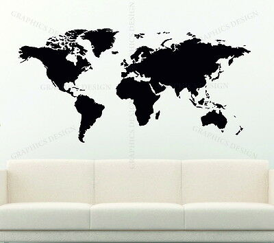 WORLD MAP LARGE CHOICE OF COLOUR  Decorative Vinyl Wall Sticker Earth Murals