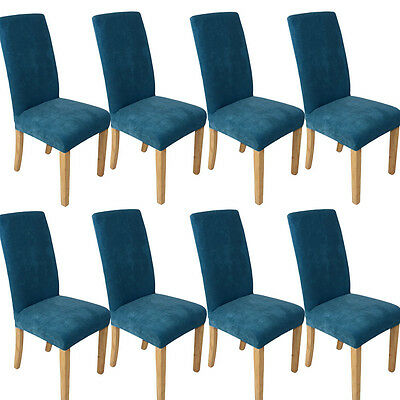 1/4/6/8pc Stretch Short Removable Dining Room Stool Chair Cover Slipcovers Blue