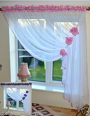Voile Net Curtains with Flowers /& Tie Back Top Quality Voile Net /& Voile New