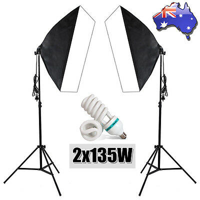 2x135W Photography Video Studio Softbox Soft Box Continuous Lighting Light Stand