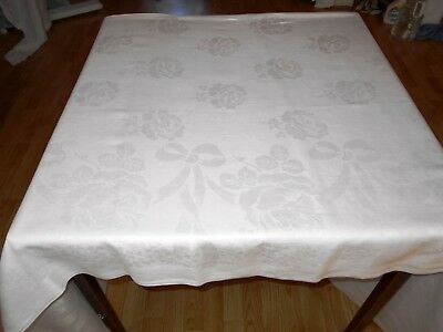 83x69 Vintage Antique FORMAL DINING White IRISH LINEN DOUBLE DAMASK Tablecloth
